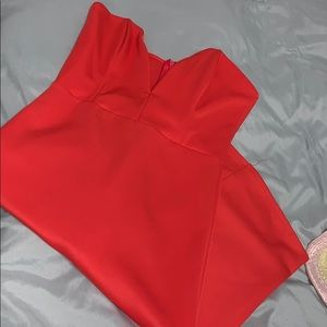 Coral bombshell cut dress